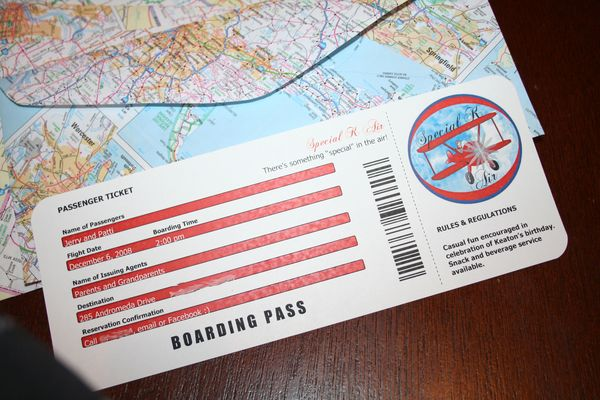 Everyday Celebrating Airplane birthday invitations – Airline Ticket Invitation